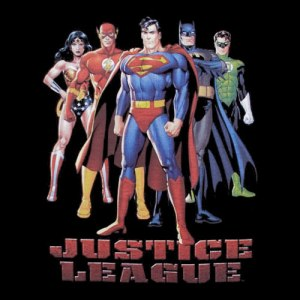Image of the justice league showing 5 super heroes, including superman and wonder woman