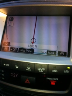 The GPS map in the car dashboard shows one straight line of Highway 505 heading north - and nothing else around.