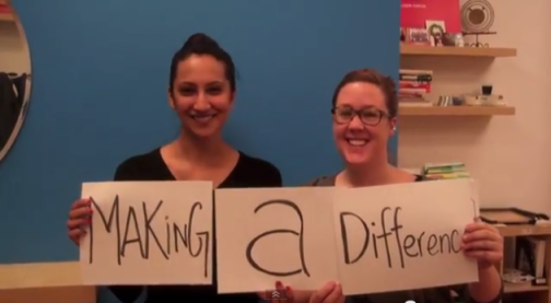 """Full Circle Fund staff Tejal Desai and Maegan Lillis joined in the OneJustice network's 2013 """"thank you"""" video"""