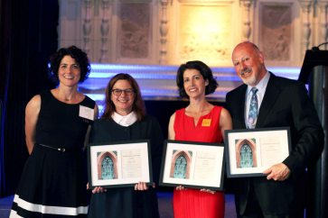 [Photo: Julia with Honorees: Kathryn Fritz, Claire Solot, and Martin Tannenbaum]