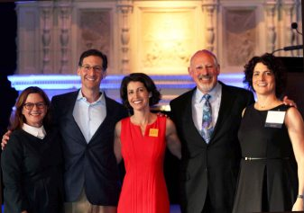 Photo: From left to right: Kathryn Fritz, OneJustice Board Chair Max Ochoa, Claire Solot, Martin Tannenbaum, and OneJustice Chief Executive Officer Julia Wilson at this year's Opening Doors to Justice event.