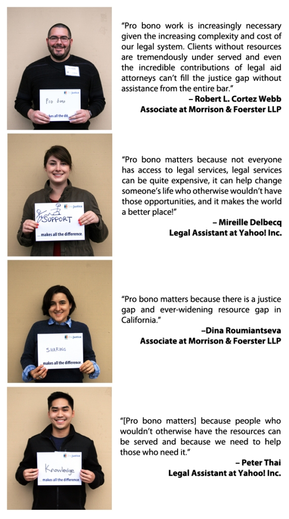 Image: Morrison & Foerster LLP and Yahoo! Inc. attorneys' quotes on why pro bono matters to them.