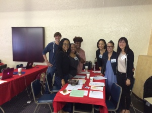 IMAGE: Black Women Lawyers Association of Los Angeles and the John M. Langston Bar Association volunteer attorneys at the Fresh Start Legal Clinic in Los Angeles.