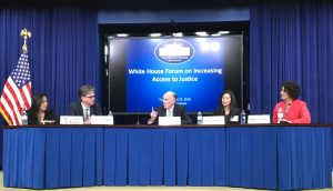 IMAGE: M. Nalani Fujimori Kaina of Legal Aid Society of Hawaii, Mark O'Brien of Pro Bono Net, James Sandman of Legal Services Corporation, Phong Wong of Legal Aid of Foundation of Los Angeles, and Julia R. Wilson of OneJustice at the White House Forum on April 19, 2016